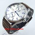 43mm parnis reserva de potência mostrador prata movimento automático mens watch