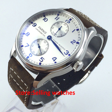 43mm parnis silver dial power reserve seagull automatic movement mens watch