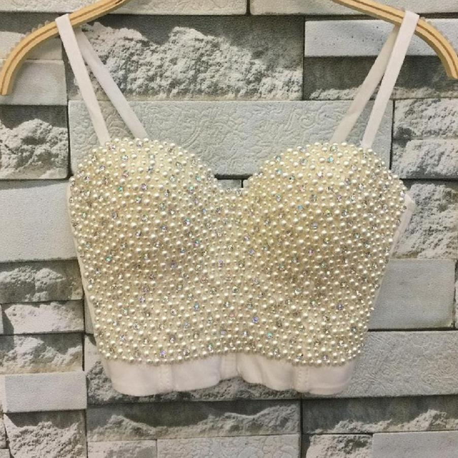 High-quality Hand-made Pearls Jewel Diamond Bralet Women's Bustier Bra Cropped Top Vest Plus Size w1165