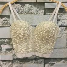 High-quality Hand-made Pearls Jewel Diamond Bralet Women's Bustier Bra Cropped Top Vest Plus Size w1165(China)