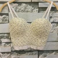 High quality Hand made Pearls Jewel Diamond Bralet Women's Bustier Bra Cropped Top Vest Plus Size w1165