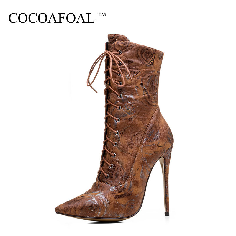 COCOAFOAL Woman Lace Up Sexy Chelsea Boots Fashion 12 CM High Heel Shoes Plus Size 33 - 43 Brown Red Autumn Winter Ankle Boots moonight cheap red overbust sexy corset top lace up corsets and bustiers plus size