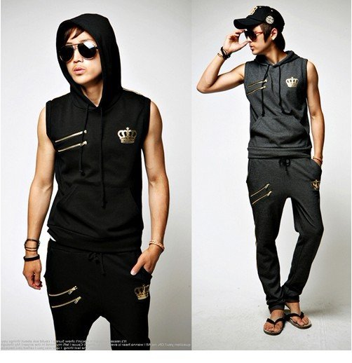 Free Shipping New Man Workout Clothes Sweater Suits Leisure Suits Hooded Mens Sleeveless Sport Sweater  In Hoodies Sweatshirts From Mens Clothing On