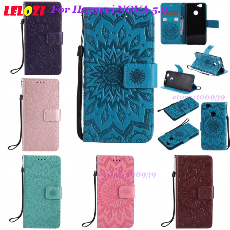 LELOZI Luxury PU Leather TPU Female Girls Case Funda Housing For Huawei NOVA 5.0 CAN-L02 CAN-L01 Flower Sunflower Blue Purple