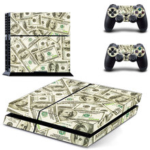 US Dollars Cash Skin Sticker For PS4 PlayStation + 2 Controllers Skin Decals