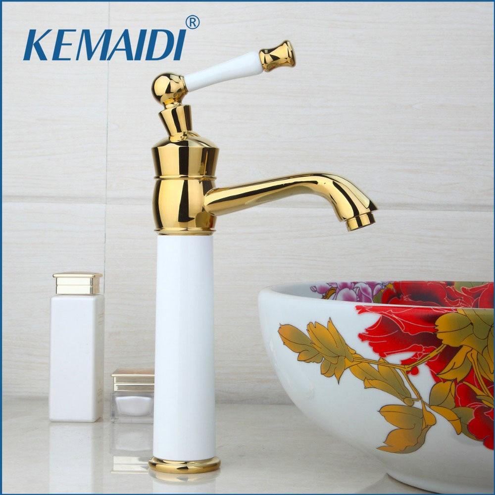 KEMAIDI Bathroom Basin Sink Faucet Golden Single Handle Vessel Vanity Waterfall Mixer Tap Faucet Deck Mounted Bathroom New single handle golden swan faucet bathroom basin faucet vanity sink mixer tap