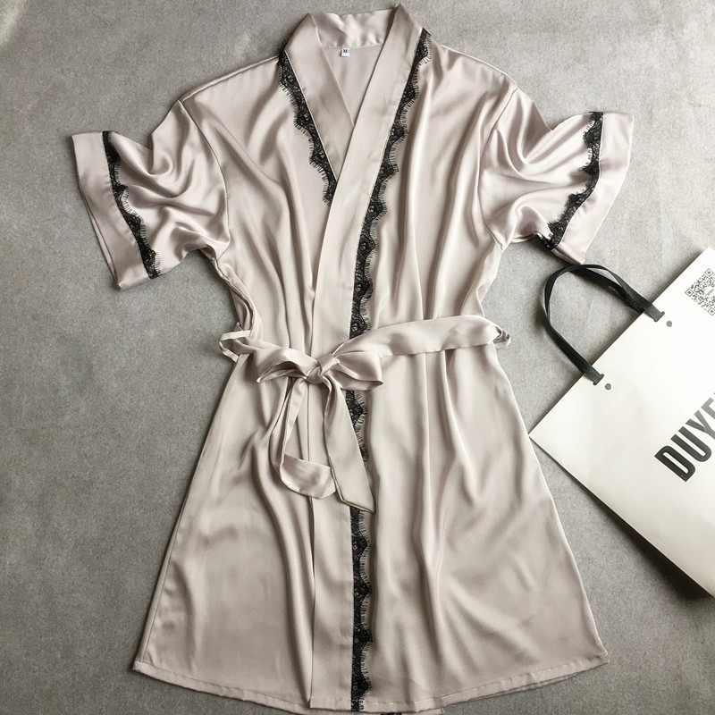 Summer Hot Sale font b Women s b font Satin Lace Short Robe Solid Kimono Bathrobe