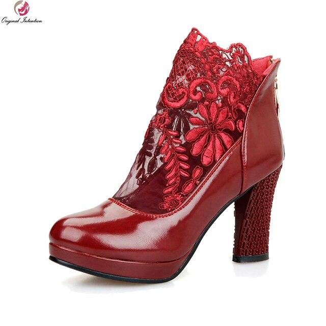 6ce70bd229fa Ursprüngliche Absicht Neue Elegante frauen Schuhe Mode Runde Zehe-platz  Ferse Stiefel Wunderschöne Spitze Hochzeit