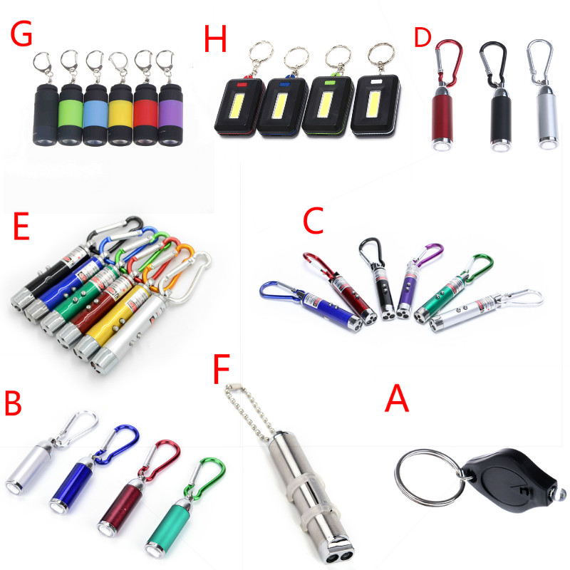 8 Styles Mini LED Flashlight Light Keychain Lamp Torch Emergency Camping Light