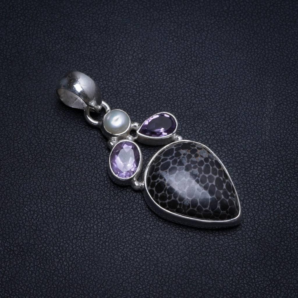 Agate de Turritella naturelle, perle de rivière et améthyste pendentif en argent Sterling 925 Boho 2