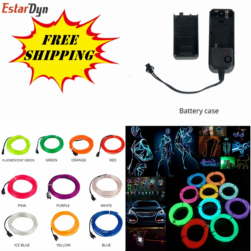1m/3m/5m Waterproof Led Strip Light Neon Light Glow El Wire Rope Tube Cable+battery Controller For Car Decoration Party To Enjoy High Reputation In The International Market