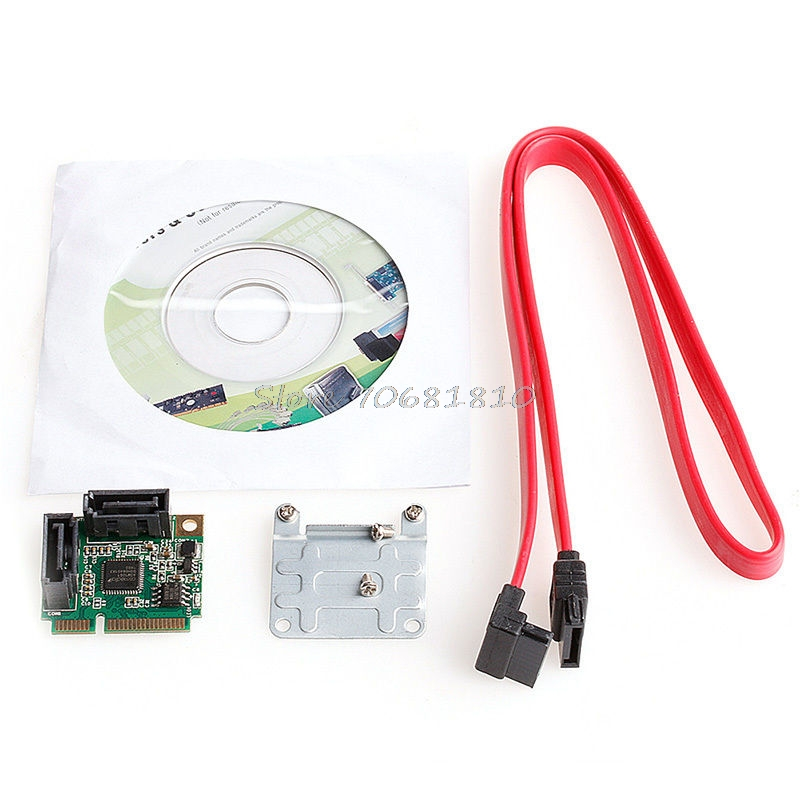 Mini PCIe PCI-Express to 2 Ports SATA 3.0 III Expansion Card Single Chip 6Gb/s Drop Shipping