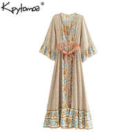 Boho Chic Summer Vintage Floral Print With Sashes Long Dress Women 2019 Fashion Kimono Sleeve Maxi Beach Dresses Vestidos Mujer