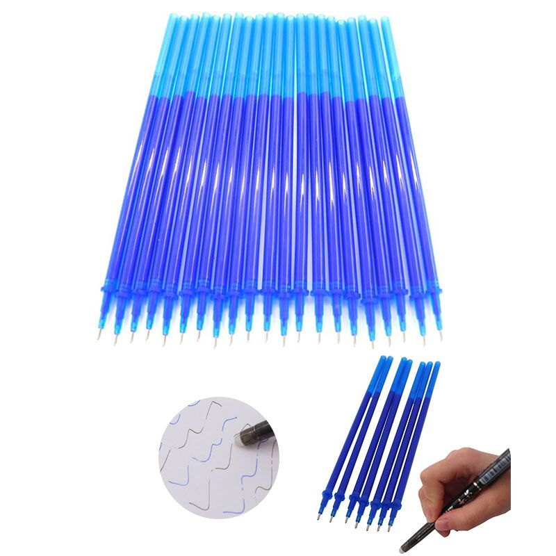 все цены на 20Pcs/Set Office Gel Pen Erasable Refill Rod Magic Erasable Pen Refill 0.5mm Blue Black Ink School Stationery Writing Tool Gift онлайн