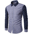 Men Plaid Shirts 2017 Fashion Skull Patchwork Camisa Masculina Slim Fit Long Sleeve Male Cotton Tops High Quality