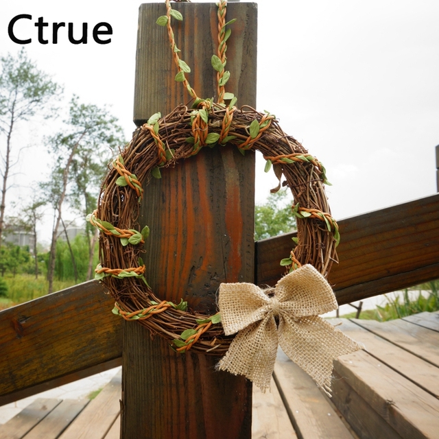 1pc Natural Vintage Rattan Circle Stem Branch Ring Christmas Decoration Photography Props Rustic Wedding Centerpieces