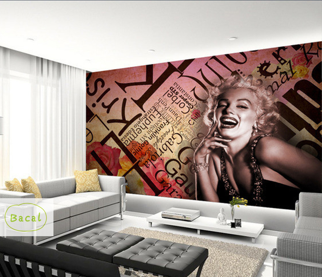 Bacal Vintage Wall Papers Stickers Marilyn Monroe Photo Wallpaper