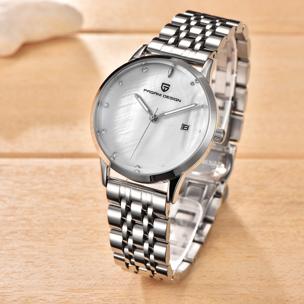 PAGANI DESIGN Brand Lady Fashion Stainless Steel Quartz Watch Women Waterproof shell dial Luxury Dress Watches Relogio Feminino