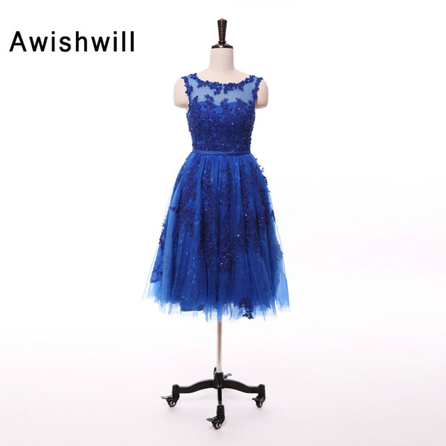 New Arrvial Royal Blue Prom Dress Knee length Appliques Beaded Tulle ...
