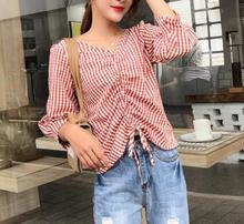 women Shirts Spring Autumn 2019 New Loose female V Neck Plaid casual Puff Sleeve tops