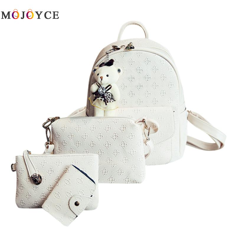 4pcs PU Leather Backpacks Women Composite Bags Famous Brand Bowknot  Zipper Backpack Female Mochila Feminina4pcs PU Leather Backpacks Women Composite Bags Famous Brand Bowknot  Zipper Backpack Female Mochila Feminina