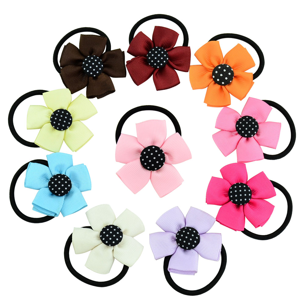 Hot 10pcs/lot 2.2 Inch Kids Cute   Headwear   Flower Bows Band With Elastic Band Ribbon Accessories Headband DIY 689