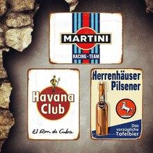 Havana Plaque Vintage Metal Plates Bar Cafe Pub Kitchen Decorative Signs Martini Wall Stickers Poster