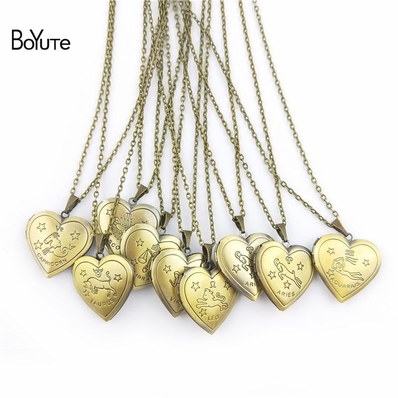 BoYuTe Retail 1 Piece 70CM Chain 29MM Heart Pendant Photo Locket Zodiac Sign Necklace Op ...