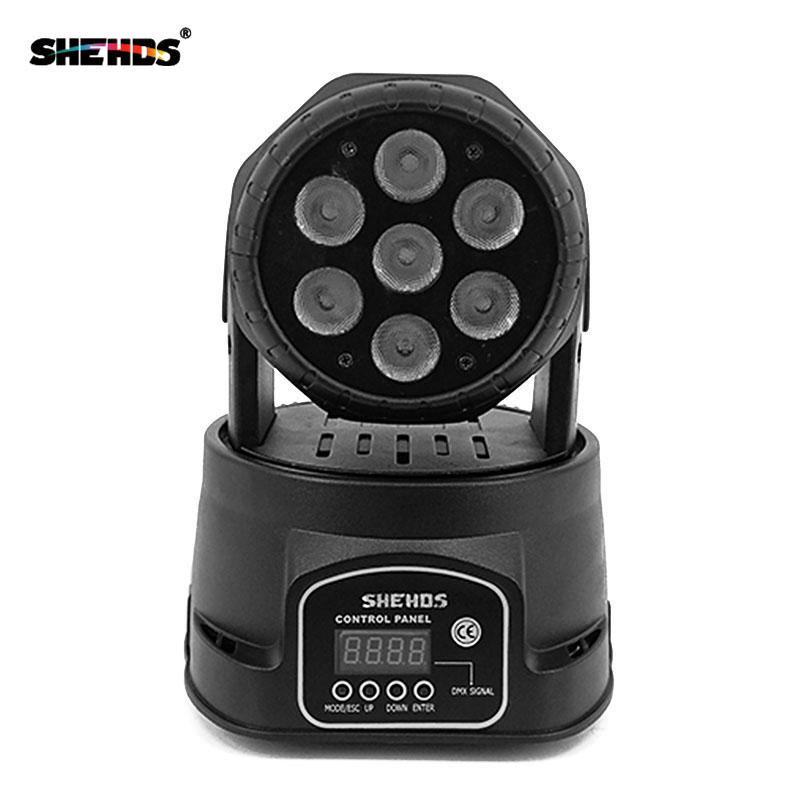 Moving Head LED Wash Stage Lighting 7x18W RGBWA+UV 6in1 Professional DMX512 For Disco DJ Music Party KTV Nightclub Lights