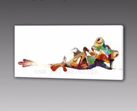 Handmade Calligraphy Home Decorative Fine Art Animal Hang Acrylic Oil Picture Hand Painted Relaxing Frog Oil