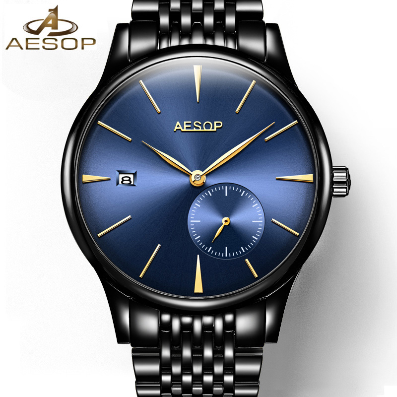 AESOP Fashion Brand Mens Mechanical Watches Business Dress Stainless Steel Automatic Watch Men Male Clock Relogio Masculino brand fashion diamond business men s table automatic steel mechanical watch hollow wristwatches relogio masculino