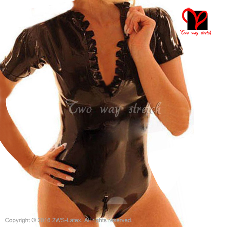 Luggage & Bags Confident Sexy Black Latex Swimsuit With Frills Zip At Back Short Sleeves Leotard Rubber Body Suit Jumsuit Plus Size Xxxl Tc-036