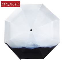 Japanese Style Fully-automatic Umbrella Men Women Folding Print Sunny and Rainy Umbrella Parasol Anti UV chic style gradient color irregular print anti uv scarf for women