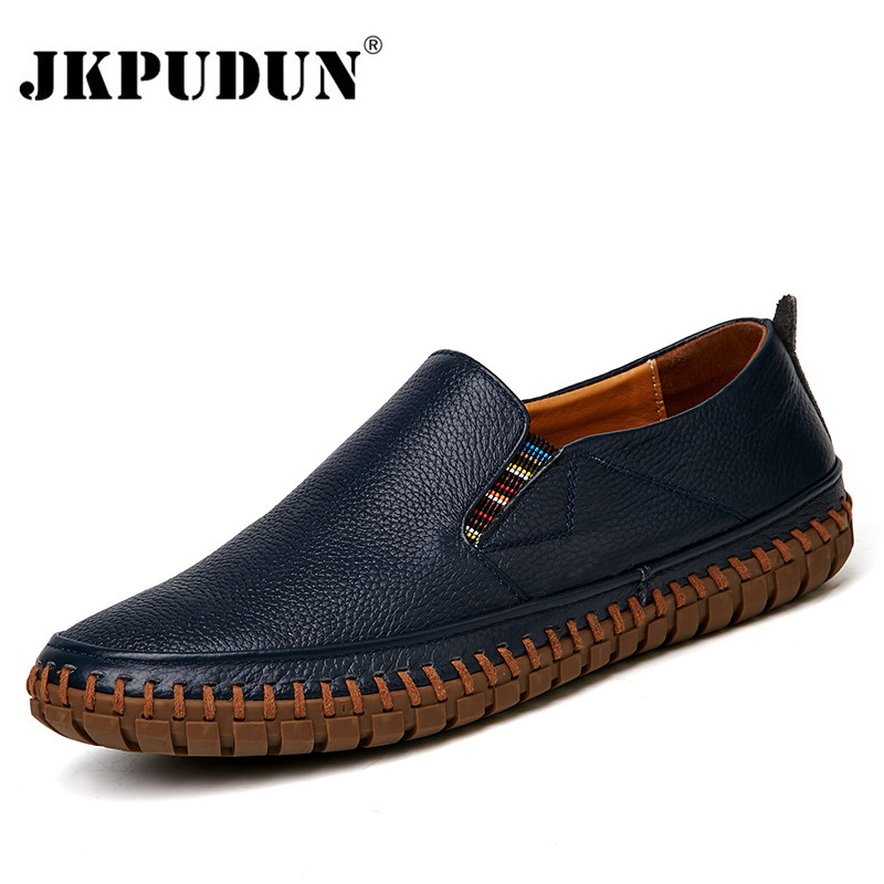 JKPUDUN Big Size 38-47 Slip On Casual Men Loafers Luxury Brand Mens Moccasins Shoes Italian Designer Genuine Leather Shoes Men nightclub luxury fashion slip on embossed leather dress shoes flats big size men moccasins casual shoes mens loafers espadrilles