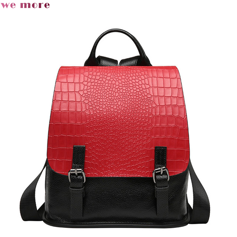 wemore Fashion Cow Leather Cover Belt Buckle Lady'S Backpack Patchwork Square Crocodile Grain Durable Backpacks цена 2017