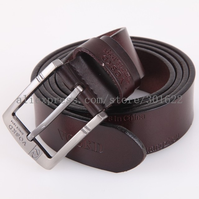 2016 High Quality VOSKD genuine leather Belts mens pin buckle cow leather  brand designer Belts140-160cm