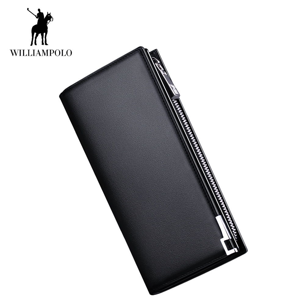 WilliamPOLO Men Wallet Long Clutch Credit Card Holder Genuine Leather Phone Purse Accordion Multi Card Case Zipper Pocket Bag 25