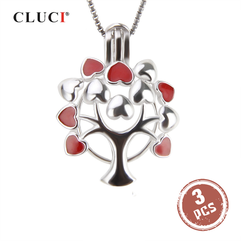 CLUCI 3pcs Life Tree Shaped Silver 925 Jewelry Charms Pendant For Women Necklace Making 925 Sterling Silver Pearl Locket Pendant