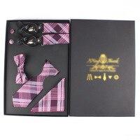 EMS OR DHL 100PCS 2017 Unisex Set Lovers Silk Plaid Y type Leather Suspenders+Neckties+Handkerchief+Cuff+Bow Tie Cravat+Gift Box