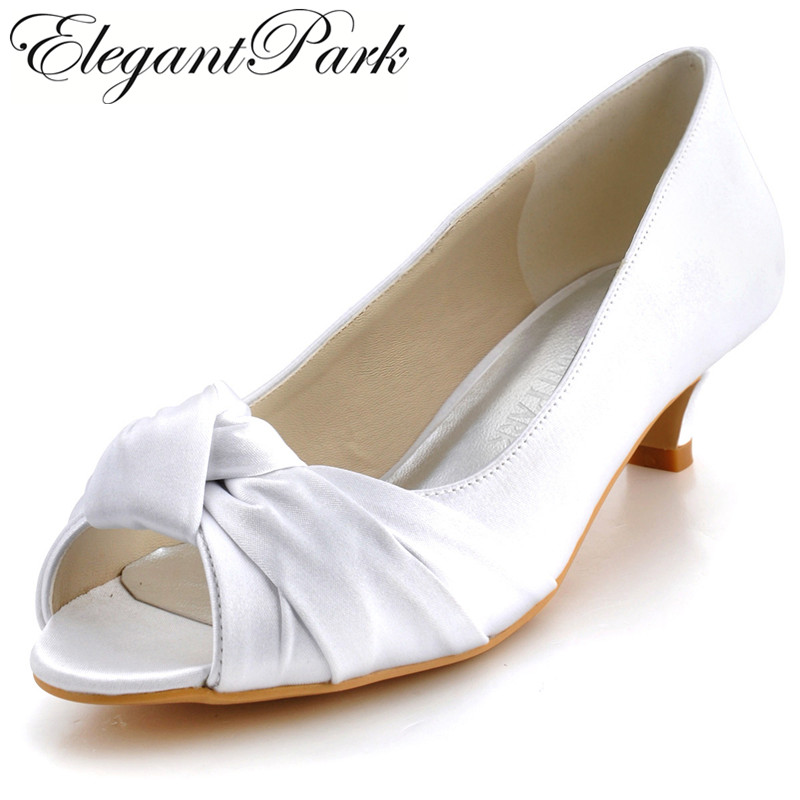 women Wedding shoes EP2045 Ivory White Comfortable low Heels Peep Toe Knot Satin Bride Lady Bridal