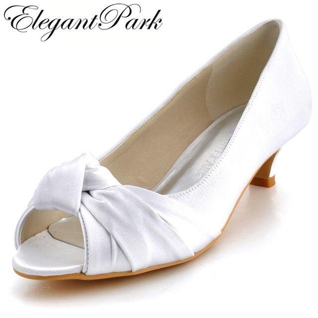 28f9b203e Mulheres sapatos de Casamento EP2045 Branco Marfim Salto baixo Confortável Peep  Toe Nó Cetim bombas de
