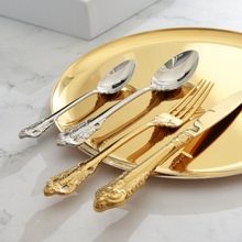 knife Fork Set Royal Luxury Gold Table Cutlery Tableware Dinnerware 18/10 Stainless Steel Dining Spoon Knife 3 Pcs