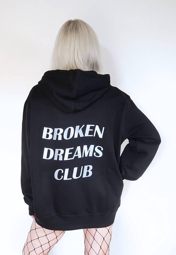 Esthétique Tumblr Casaul Cassé Rêves Club Hoodies Graphique Coton Pull À La Mode Unisexe Printemps Vêtements Sweat Tenues