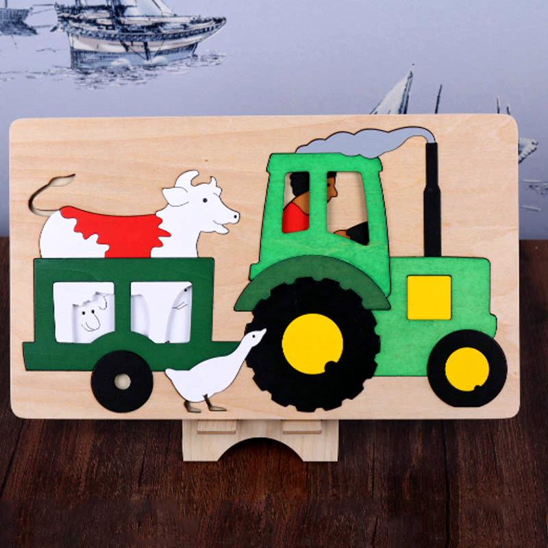 Gratis frakt barn / barn pedagogiska träleksaker multilayer tecknad - Spel och pussel - Foto 2