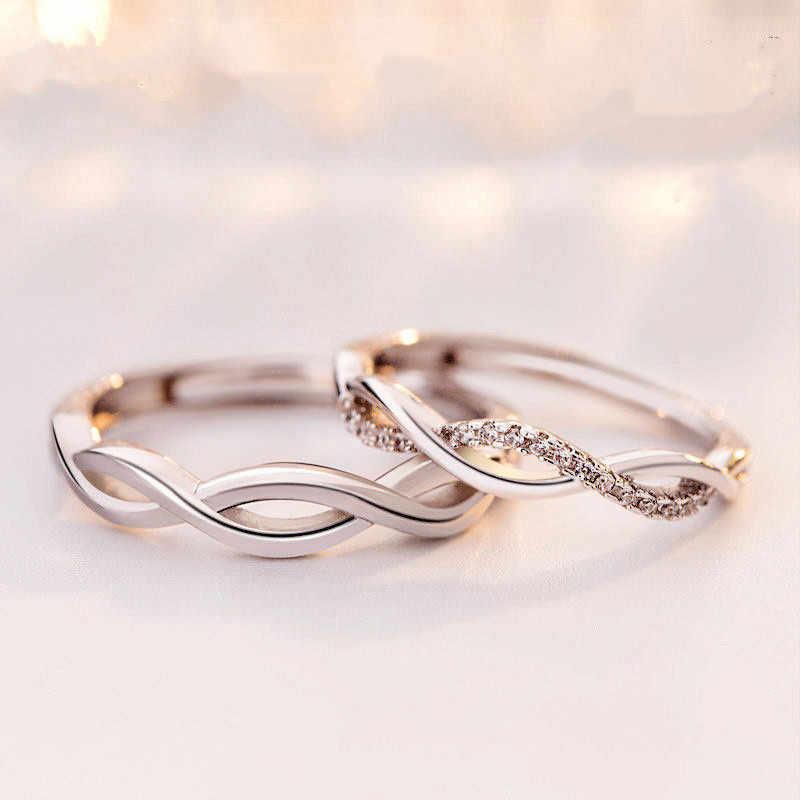 Kiteal แฟชั่นเงินคริสตัล cross twist แหวนคู่สำหรับชาย/ผู้หญิง 925 แกะสลักหมั้นแหวนคนรัก