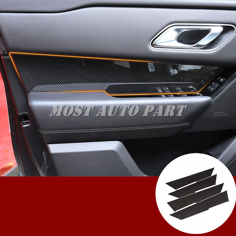 Carbon Fiber Style Car Door Panel Cover Trim For Land Rover Range Rover Velar 2017 2019-in Interior Mouldings from Automobiles & Motorcycles    1