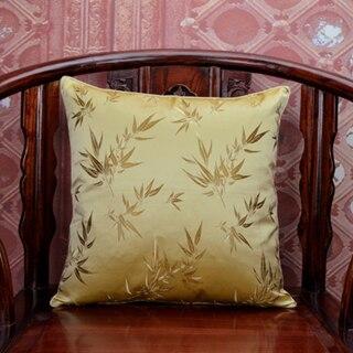 Элегантный квадратный сплошной цвет хлопка отель Банные полотенца чехол шелковые наволочки для подушек размером 45*45, декоративная кресла диван-подушка для поддержки поясницы китайская обложка подушки - Цвет: Цвет: желтый