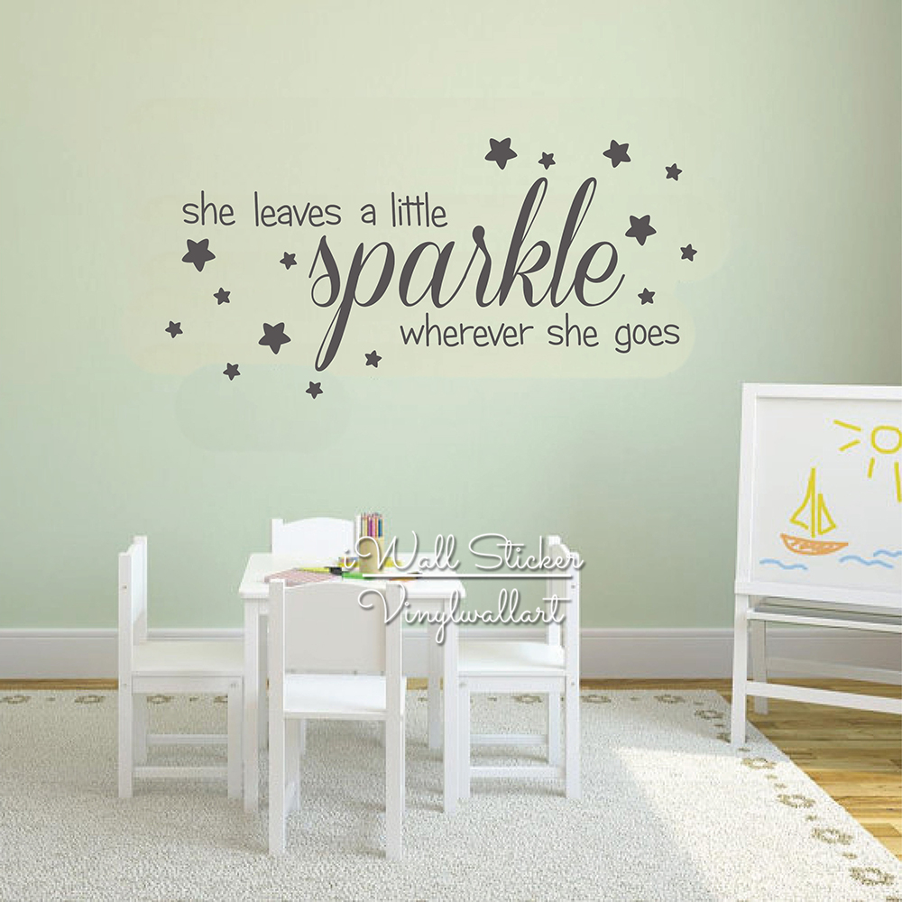 Sparkle Stars Quotes Wall Decal Baby Nursery Girls Quote