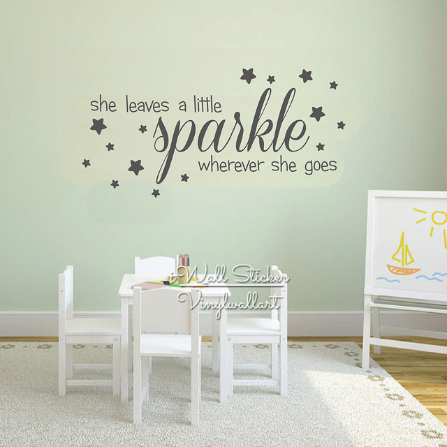 sparkle stars quotes wall decal baby nursery girls quote wall