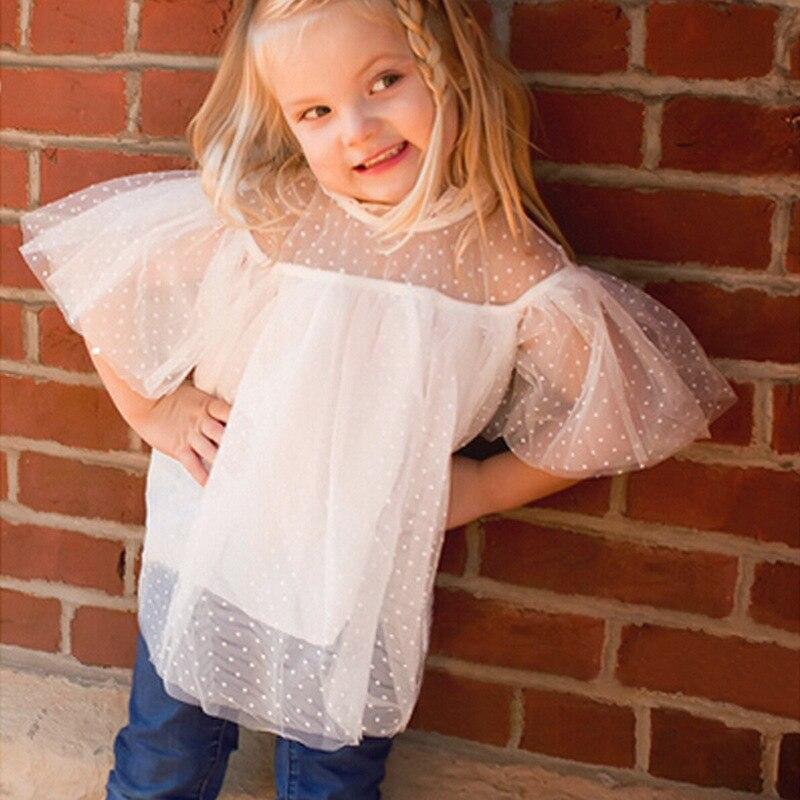 2018 Baby Girls Lace Dots T-shirts Kids Girls Princess Jumper Tops Babies Summer Flutter Sleeve Shirts Kids Clothing